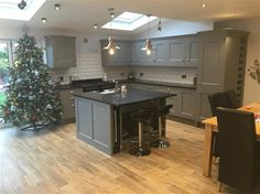 An inspirational image from Farrow & Ball. Kitchen Inspirations, Home Decor Kitchen, Grey Kitchen Designs, Kitchen Remodel, Kitchen Decor, Open Plan Kitchen Living Room, Home Kitchens, Kitchen Cupboard Colours, Kitchen Layout
