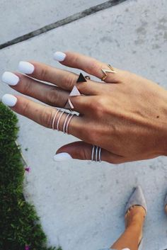 White Essie Nails paired with Diamond Fashion Rings