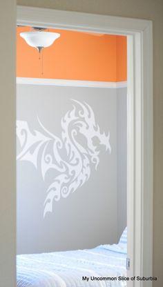 Orange and grey bedroom for tween boy