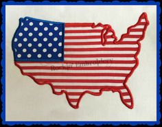 United States Shaped Flag Embroidery Design by RockinEmbroidery, $4.00