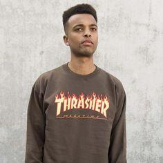 Thrasher - Flame Logo Crewneck - Brown