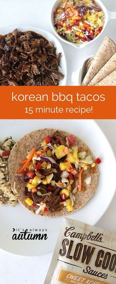 Sweet Korean BBQ Tacos are so easy to make in the slow cooker, and they only take 15 minutes of prep time! The kids will love this tasty dinner recipe!