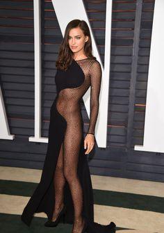 Irina Shayk at the 2015 Vanity Fair Oscar Party in Beverly Hills wearing Atelier Versace