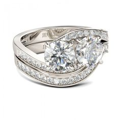 Two-stone Bypass Round Cut Created White Sapphire Rhodium Plating Sterling Silver Women's Ring