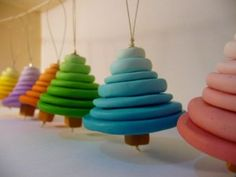 My polymer clay Christmas trees