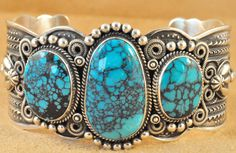 Navajo Sterling Silver Natural Tibetan Turquoise Row Cuff Bracelet By Darrell Cadman