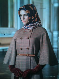 armine - Google Search Cape Coat, Office Looks, Image Categories, Silk Scarves, Winter Coat, Hijab Fashion, Muslim, Style Inspiration, How To Wear