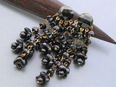 Old Jet Black Glass Flower Dangle Earrings Germany by PritiStar, $67.00
