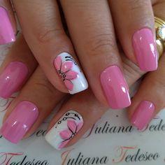 Pretty Toe Nails, Pretty Nail Art, Fancy Nails, Cute Nails, Pink Nail Art, Gel Nail Art, Purple Nails, Gel Nails, Flower Nail Designs