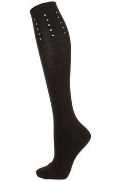 Silver Stud Knee High Socks