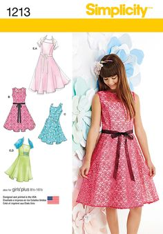 Sew Girls' & Girls' Plus dresses with both dressy and casual possibilities. Simplicity  pattern 1213 also includes knit shrug.