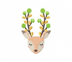 Deer Flower Horn Buds Stitched 5_5 Inch