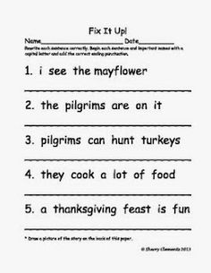 FREEBIES: Fix It Up Sentences: Thanksgiving Freebie (Capital Letters and End Punctuation) - Take a look at the Christmas FREEBIE also! ENJOY!
