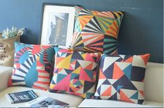 Set of 4 Nordic Geometric Pillow Covers Scandanavian Throw Pillows Cushion Covers Linen Cotton Covers