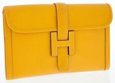 Hermes Jaune Epsom Leather Jige MM H Clutch Bag