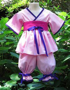 Princess Mulan Costume for Girls, Asian Kimono Outfit with Kimono Top and Pantaloons PinkMouseKids