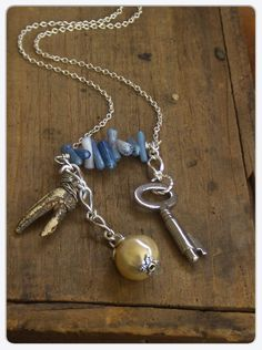Key To Atlantis Necklace of the lost city. Genuine Crab claw, antique key. blue coral necklace. Unique Handmade Gift under 50. Gift Box
