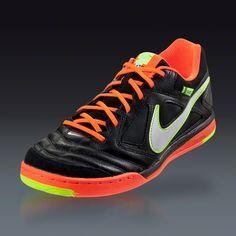 Nike Nike5 Gato Leather - Black/Total Crimson/Sunset Indoor Soccer Shoes