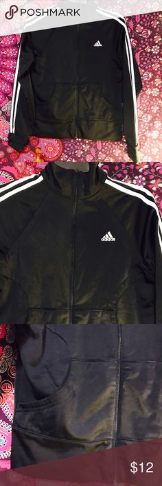 Adidas small zip up athletic b&w jacket Awesome jacket in great condition no picks adidas Jackets & Coats