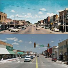 Then & Now - Broadway St. & Main St. looking east, Weatherford, OK.