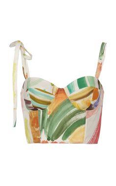 Rosie Assoulin Tie-detailed Printed Cotton-poplin Bustier Top In Multi 70s Fashion, Fashion Outfits, Womens Fashion, Fashion Tips, Fashion Design, Modest Fashion, Fashion Fashion, Korean Fashion, High Fashion