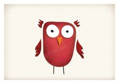 red owl by Mobijo Owl Kids, Red Owl, Whimsical Owl, Animal Drawings, Drawing Animals, Owl Nursery, Envelope, Owls, Graphic Design