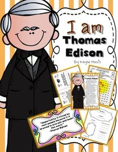 Thomas Edison ~ Mini Unit, Lap Book, Writing and more! Interactive Writing Notebook, Interactive Notebooks, Writing A Book, Thomas Alva Edison, Science Electricity, Types Of Essay, Social Studies Lesson Plans, Thematic Units, School Projects