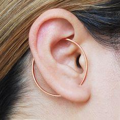 Rose Gold Ear Cuff Rose Gold Earrings Modern Earring Circle