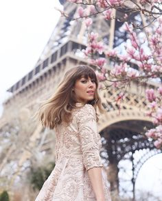 @herhappyhabits spring style fashion photography glitter rose gold pink outfit dress Parisian French paris France bangs chic glam