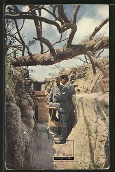 German WWI Front Life - Trench at CHAMPAGNE postcard