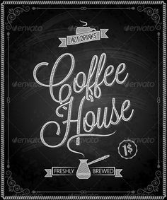 Chalkboard Framed Coffee Menu