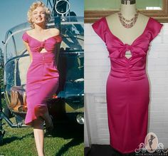 Marilyn Monroe Niagara WIGGLE Dress Hot Pink or Red Tie Front-Rose Loomis-Choose your Size-