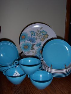 Vintage Melmac Dinnerware Set In Soft Blue Turquoise With