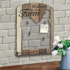 Bathroom Decor Discover Stonebriar Collection 18 in. x 24 in. Brown Wooden Rooster Wall Decor with Metal Tray Mesh Message Board - The Home Depot 18 in. x 24 in. Brown Wooden Rooster Wall Decor with Metal Tray Mesh Message Board Wooden Crafts, Diy And Crafts, Farm Crafts, Rustic Crafts, Pallet Crafts, Diy Pallet, Rustic Decor, Chicken Wire Crafts, Welcome Photos