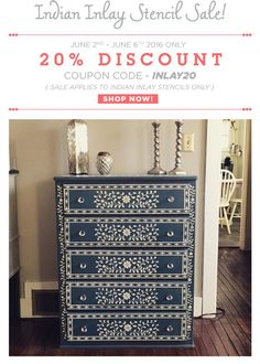 Indian Inlay Stencil Sale! Take 20% off using the code INLAY20 and learn how to create a bone inlay look on a budget!  Shop now: http://www.cuttingedgestencils.com/indian-inlay-stencil-furniture.html