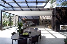 modern light and dark loft with glass ceiling