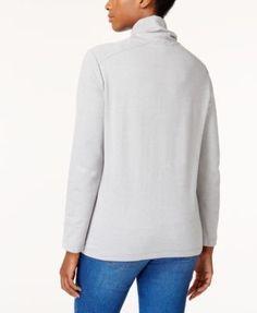 Karen Scott Funnel-Neck Active Sweatshirt, Created for Macy's - Purple XXL