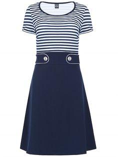 Mademoiselle Yeye Isla Dress, dark navy blue white stripes print jurk donkerblauw met witte strepen print 1960s vintage look