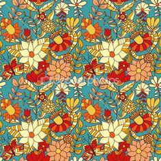 Çiçek seamless modeli, çiçekli sonsuz doku. vektör ba — Stok İllüstrasyon #8240001