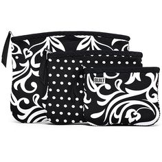 The Bryant Park Collection - Zip Cosmetic Pouches (Set of 3) in Damask And Mini Dot