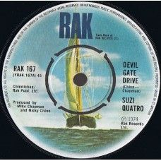 "7"" 45RPM Devil Gate Drive/In The Morning by Suzi Quatro from RAK (RAK 167)"