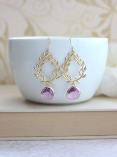 Peacock Lavender Glass Drops Earrings.