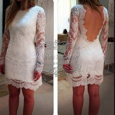2014 Vestido De Fiesta Scoop Neck Sexy Backless Full Long Sleeves Open Back Sheath Short White Lace Cocktail Dress w205