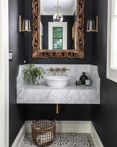Country Home Decor 7 Ways to Jazz Up Your Powder Room.Country Home Decor 7 Ways to Jazz Up Your Powder Room Big Bathrooms, Beautiful Bathrooms, Bathrooms Decor, Bathroom Lighting, Bad Inspiration, Bathroom Inspiration, Bath Design, Home Design, Sink Design