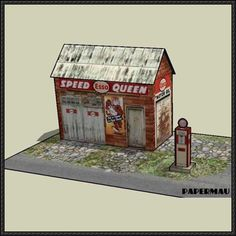 Speed Queen Gas Station Free Paper Model Download - http://www.papercraftsquare.com/speed-queen-gas-station-free-paper-model-download.html