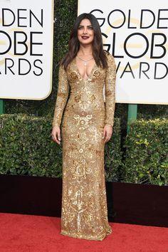 Priyanka Chopra wearing Ralph Lauren at the 2017 Golden Globe Awards