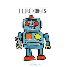 Robot Art Print  Retro Toy Robot Illustration San by sanjones, $13.00