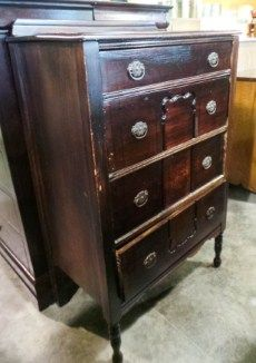 4 Drawer Dark Stained Antique Chest | Sku: HAXAWZ | Primary View | New Leaf Consignment Galleries