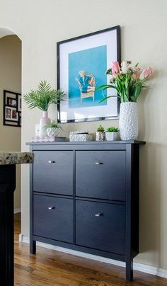 14 Ways To Use an IKEA Shoe Cabinet For Extra Kitchen Storage Try adding an IKEA Shoe Cabinet for versatile storage space when you don't have enough kitchen cabinets! This page shows 14 easy ideas for kitchen storage. Interior, Entryway Shoe Storage, Kitchen Cabinet Storage, Diy Kitchen Storage, Hallway Storage, Ikea Storage, Extra Kitchen Storage, Ikea Shoe Cabinet, Ikea Shoe Storage