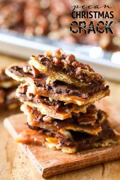 Pecan Christmas Crack. Quick homemade toffee, topped with chocolate & pecans. This toffee bark can be made with Ritz crackers or saltines!